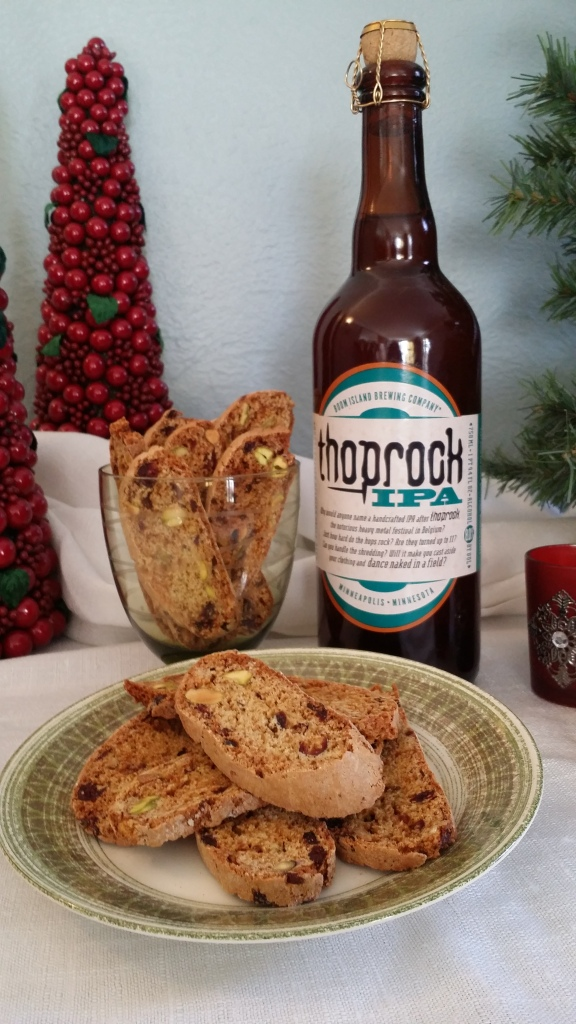 Cranberry Pistachio Biscotti paired with Thoprock IPA, Photo by Samantha Haddow